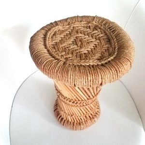 Vintage Wicker Bamboo Hourglass Plant Stand Stool
